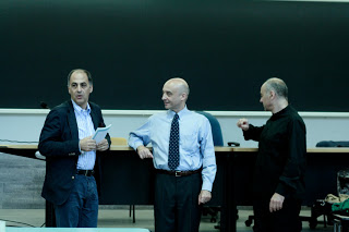 Prof. Conte, Dr. Giuliani and M° De Filippi during the Law and Music classes
