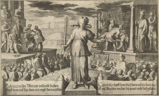 Willem Jacobsz. Delff, Robert de Baudous, Maria Strick-Becq, Justice before the judgement of Zaleucus and Cambyses, ca 1600 (detail), Rijksmuseum